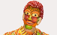 Portrait of man made of fruit