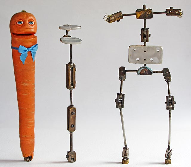 Stop-motion carrot and chicken puppet armatures. edge