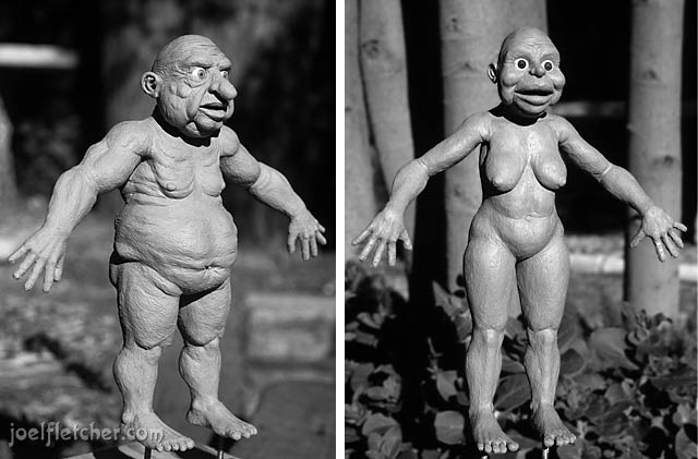Fat caveman and his wife sculpted from Roma clay. edge