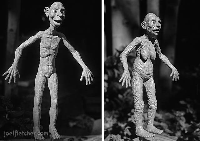 Skinny caveman and old cavewoman clay sculptures. edge