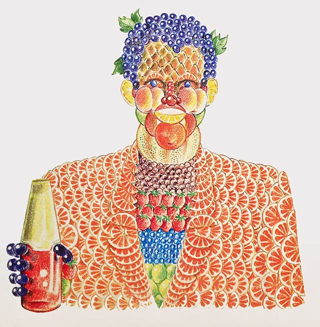 Drawing of man made out of fruit. edge