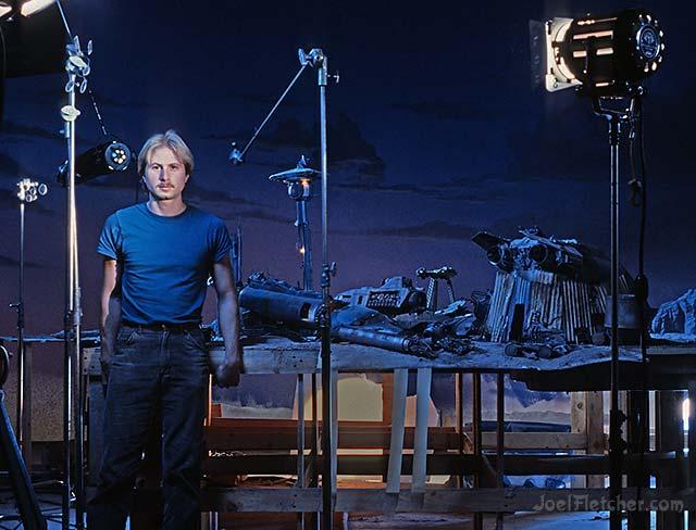 Artist Joel Fletcher on movie set. edge