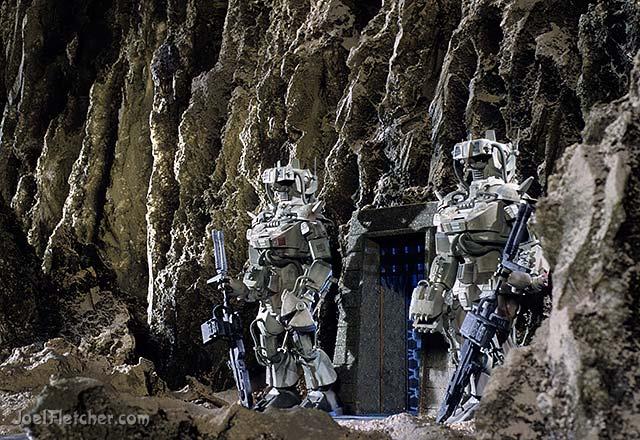 Giant robots guarding a gate