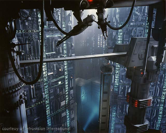 Futuristic alien city. edge
