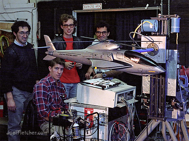 Hellicopter model with special effects crew. edge