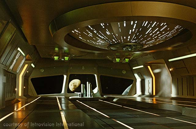 Interior of a spaceship with earth and moon in window. edge