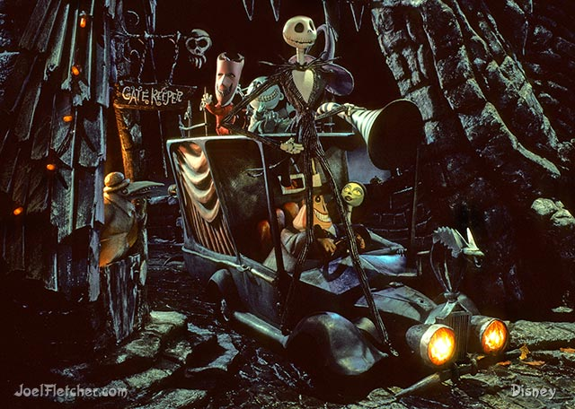 Jack Skellington and the Mayor in a hearse