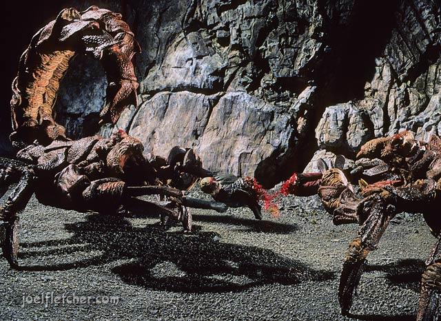 Giant scorpions tearing apart their victim. edge