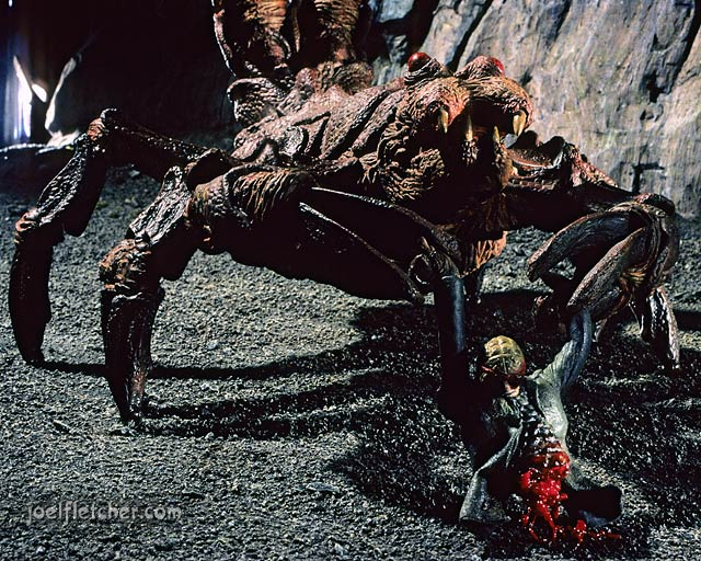 Giant scorpion and victim from the movie Oblivion