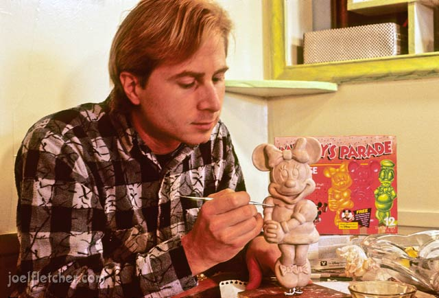 Joel Fletcher making a Minnie Mouse popsicle out of clay