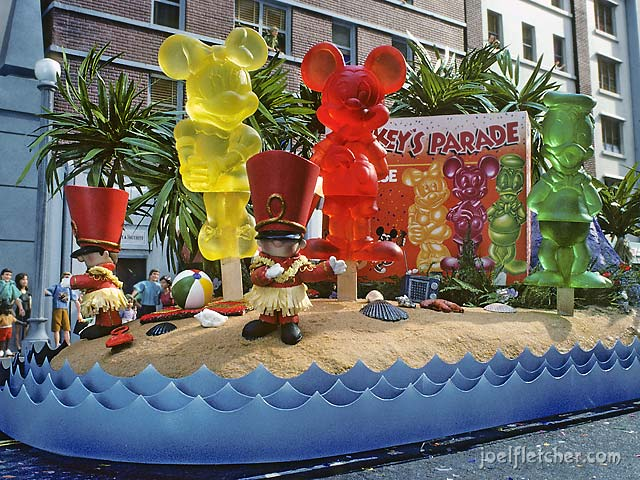 Parade float with Disney popsicle characters. edge