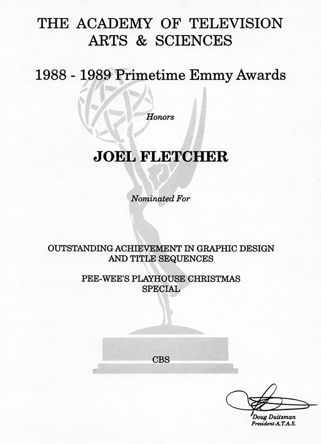 Joel Fletcher Emmy nomination