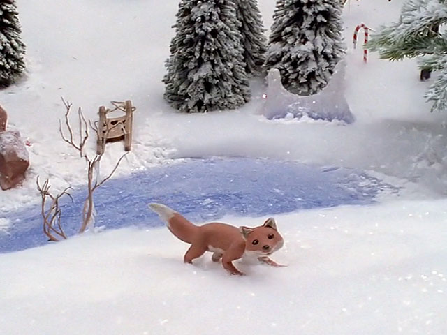 An animated clay fox in the snow