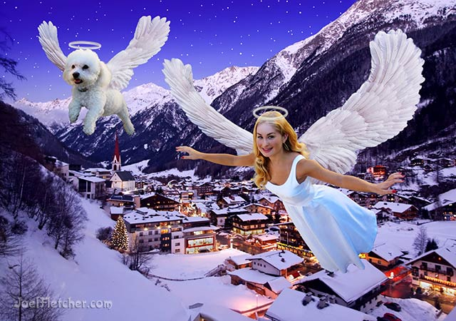Pretty angel woman and dog fly over a village. edge