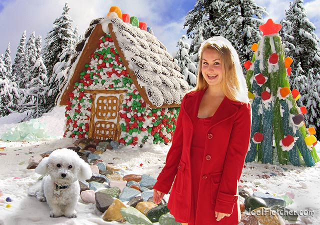 Winter scene with girl and dog in front of a gingerbread house. edge