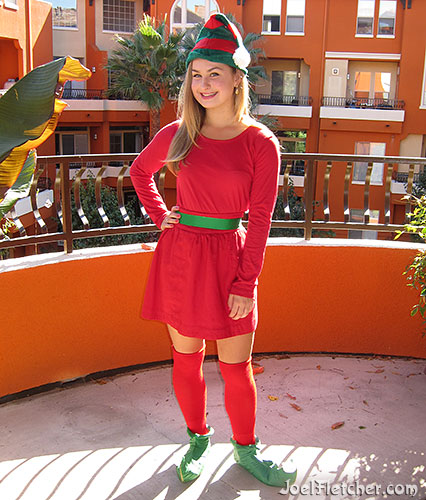 Girl dressed like an elf. edge