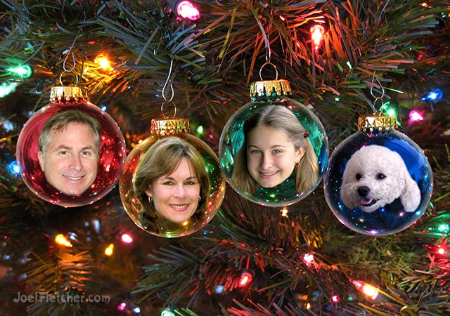 Christmas tree ornaments with portrait pictures. edge