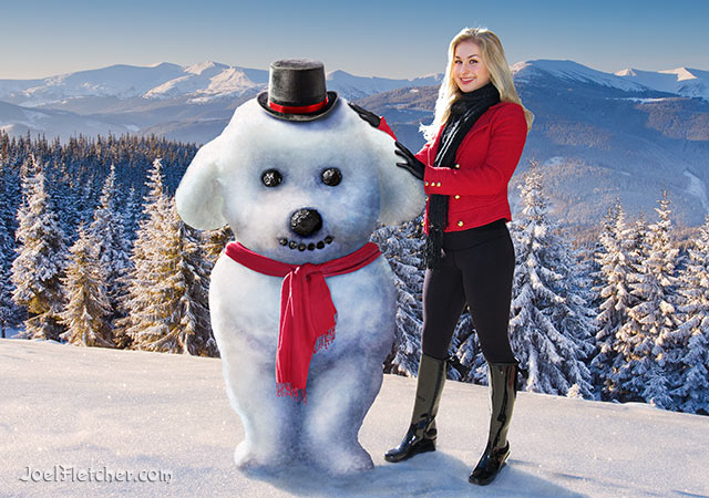 Beautiful woman and dog made of snow in the mountains. edge