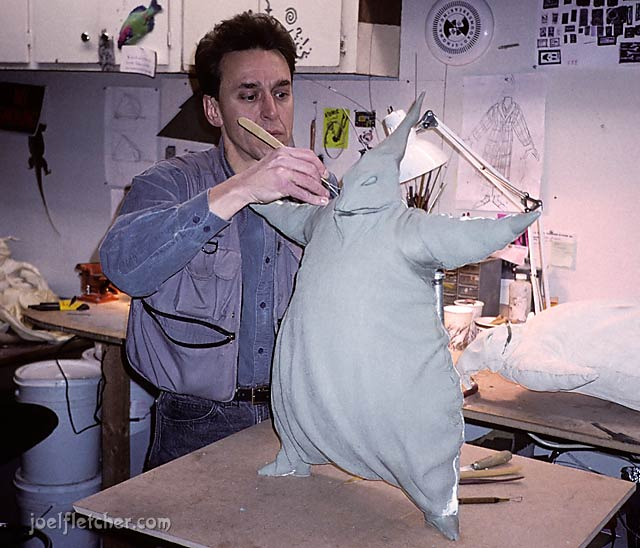 Sculptor Norm DeCarlo with Oogie Boogie in clay. edge