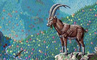 Painting of a wild goat overlooking a valley