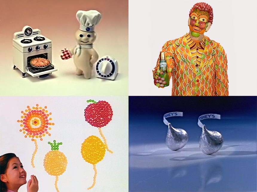 Scenes from stop-motion animated commercials by Joel Fletcher.