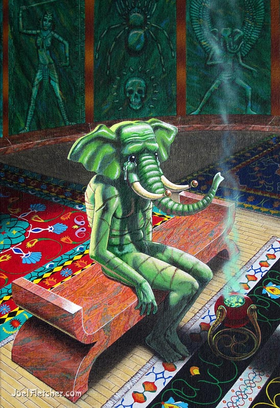 Tortured elephant god in mysterious room. gallery