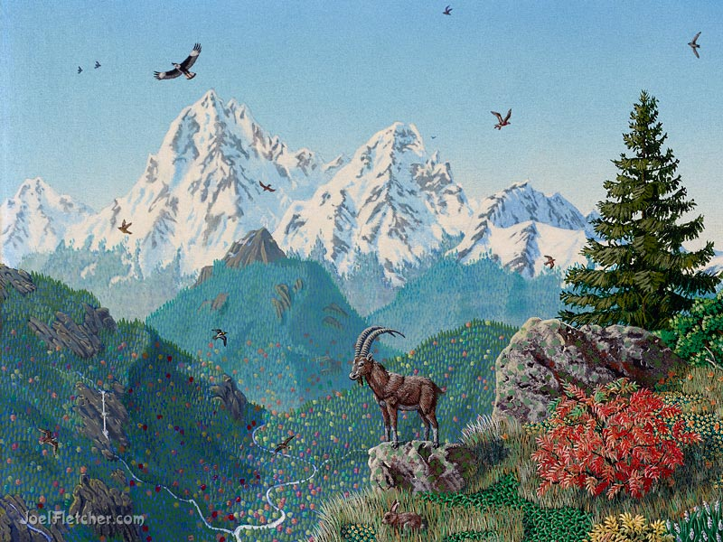 Mountain landscape with Ibex and other animals. gallery