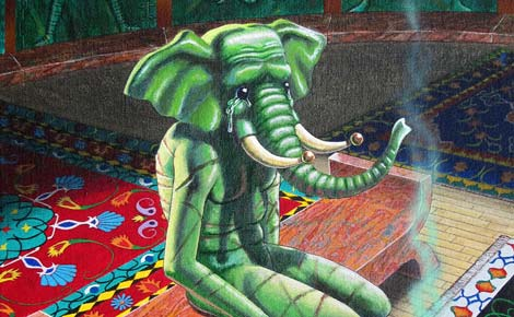 Painting of a crying elephant-man in a strange room