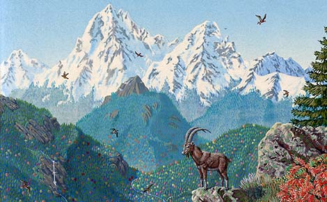Painting of a mountain goat in the mountains.