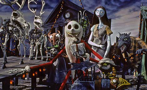 Jack Skellington, Sally, Reindeer, Devil, and Werewolf get ready for Christmas