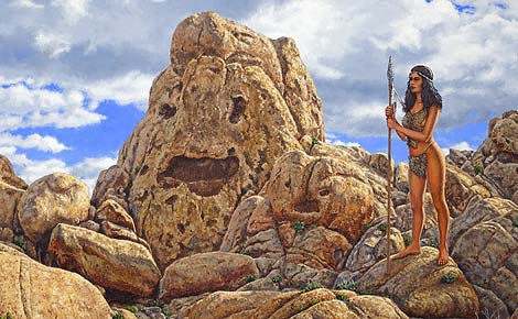 Painting of a prehistoric woman in a rocky landscape