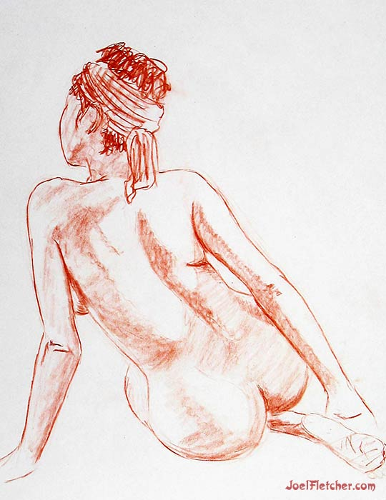 Back view of sitting woman figure drawing. gallery