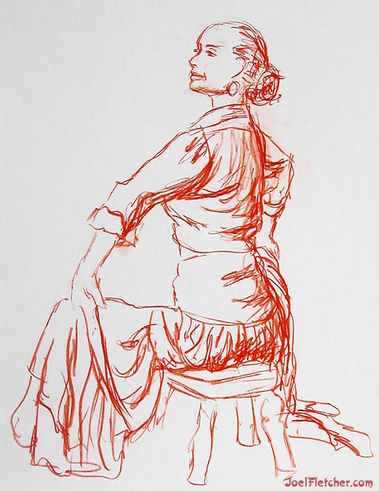 Sitting flamenco dancer life drawing. gallery