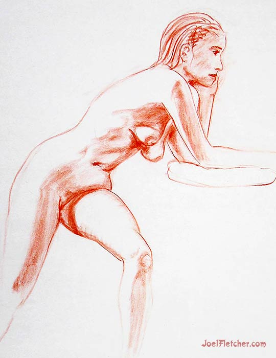 Woman leaning nude figure drawing. gallery
