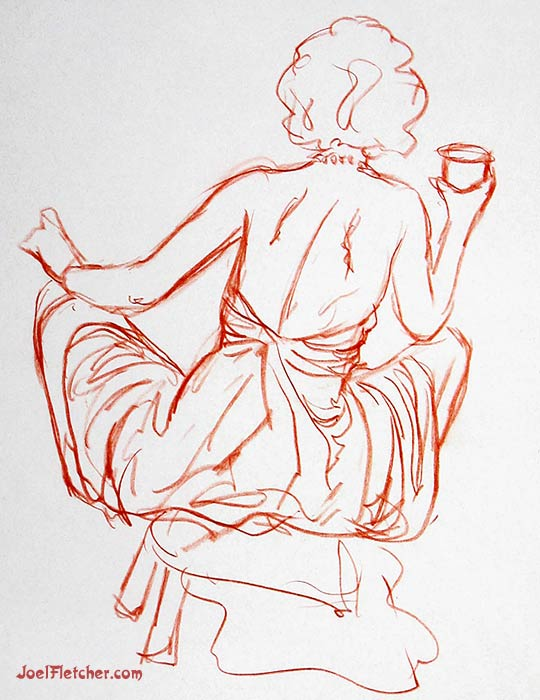 Marilyn Monroe rear view life drawing. gallery