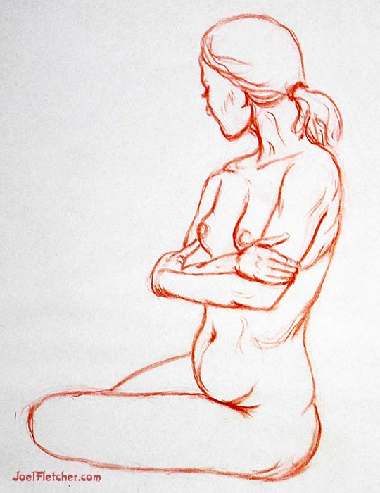 Figure drawing of girl with crossed arms. gallery