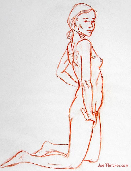 Nude girl life drawing side view. gallery