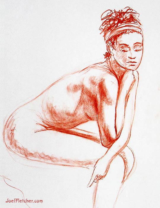 Girl thinking nude life drawing. gallery