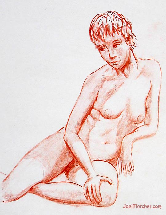 Reclinging nude woman life drawing. gallery