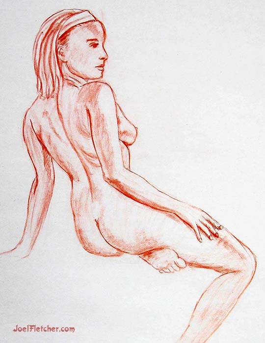 Seated woman figure drawing. gallery