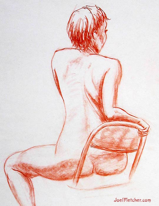 Nude woman on chair. gallery