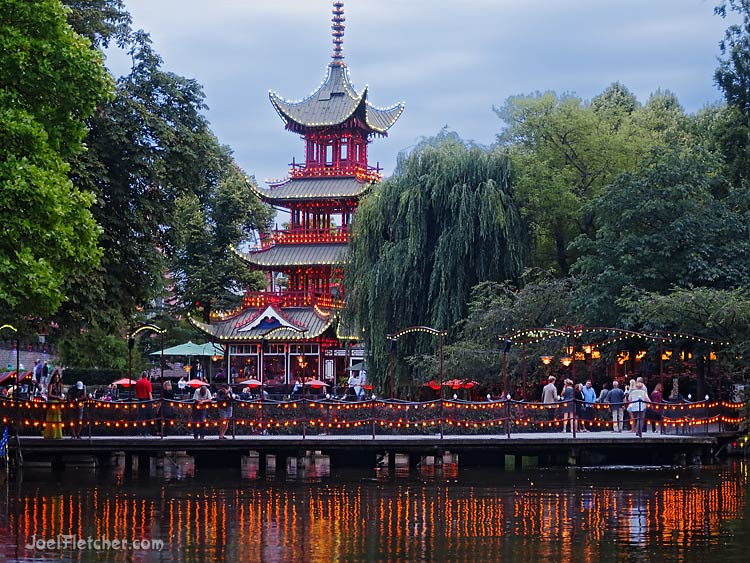 Japanese Pagoda at dusk with pretty lights. gallery