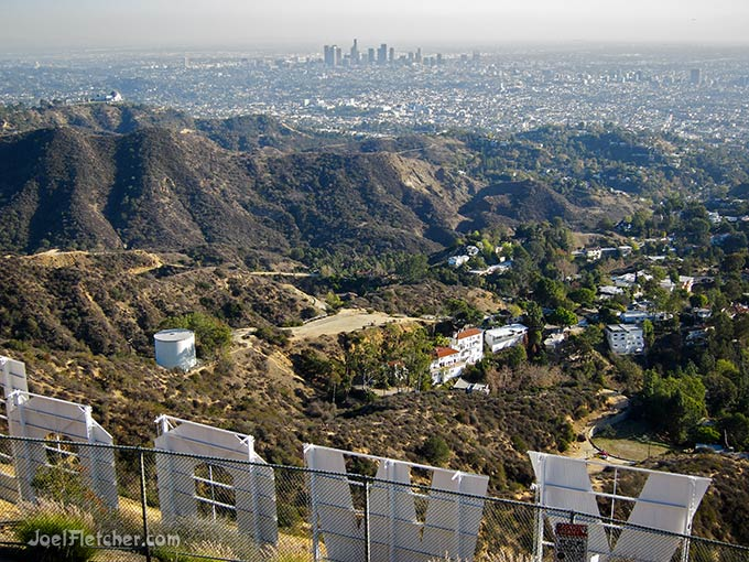Perspective view of Los Angeles from above the Hollywood sign.
