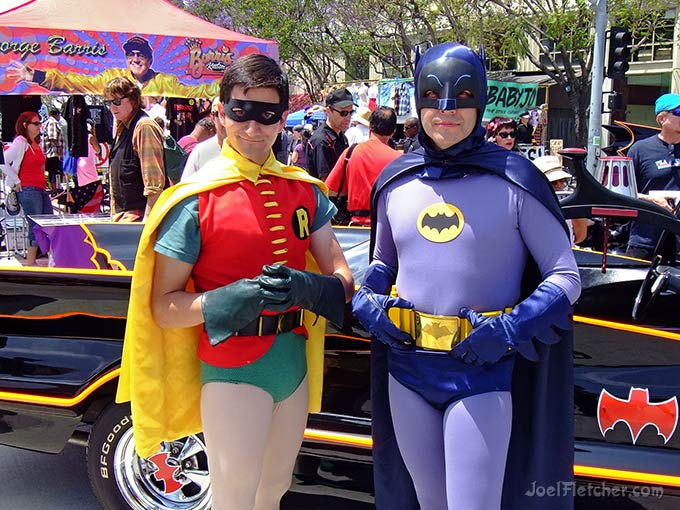Batman and Robin with Batmobile.