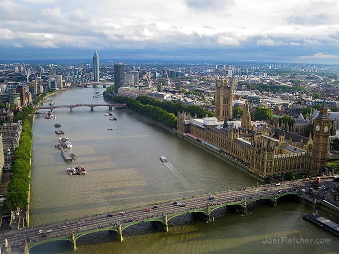 Aerial view of London, England.