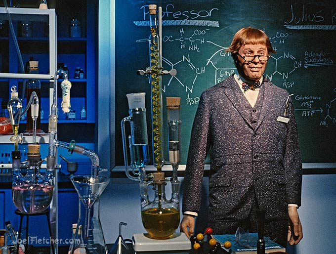Nutty professor in the classroom laboratory.