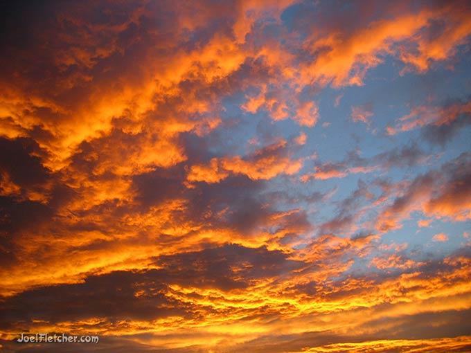 A brilliant orange sunset.