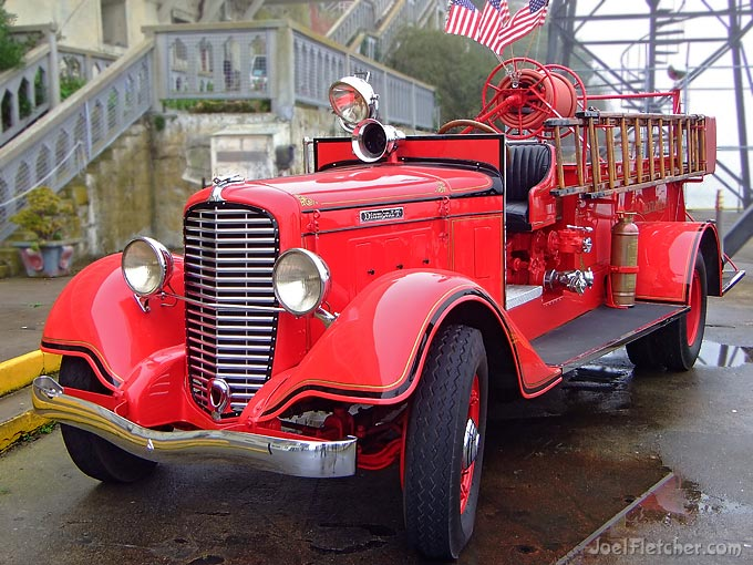 Red antique fire truck at Alcatraz penitentiary.