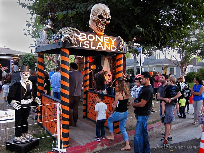 People entering a Halloween haunted house attraction