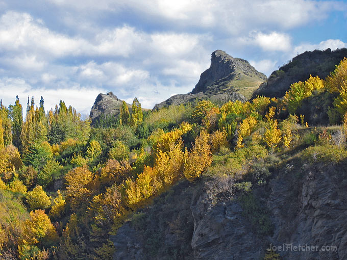 Spectacular mountain peak with fall colors